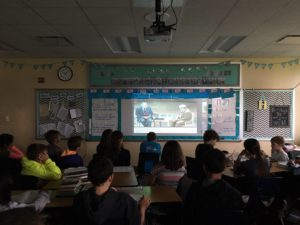 Ms. Hornick's class in Iowa live stream First Person in April 2016.